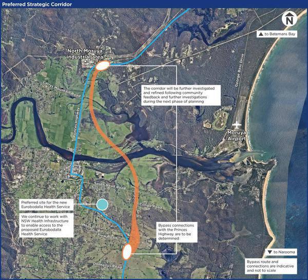 Proposed Moruya bypass orange route Noads Drive Eurobodalla shire